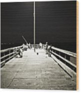 Fishing At Night Wood Print