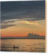 Fishing At Sunrise Wood Print