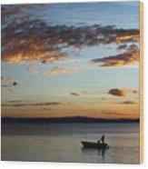 Fishing At Sunset On Lake Titicaca Wood Print