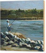Fishing At The Point Wood Print