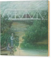 Fishing At The Pump House On White Oak Creek Wood Print