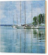 Fishing Bay Reflections Wood Print