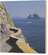 Fishing Boat Approaching Skellig Michael, County Kerry, In Spring Sunshine, Ireland Wood Print