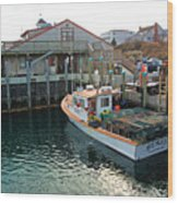 Fishing Boat At Chatham Fish Pier Wood Print