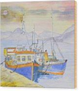 Fishing Boat At Dock Wood Print