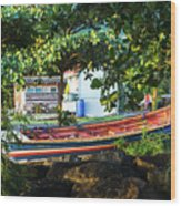 Fishing Boat At Rest  Wood Print