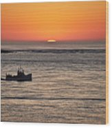 Fishing Boat At Sunrise. Wood Print