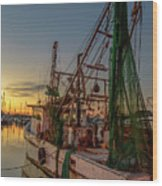 Fishing Boat At Sunset Wood Print