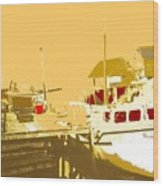 Fishing Boat At The Dock Wood Print