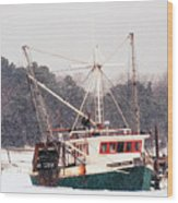 Fishing Boat Emma Rose In Winter Cape Cod Wood Print