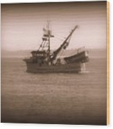 Fishing Boat In Monterey Bay Wood Print