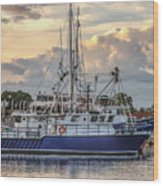 Fishing Boat In Port Wood Print