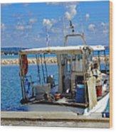 Fishing Boat Moored In The Harbor Of Katakolon Greece Wood Print