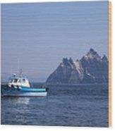 Fishing Boat Near Little Skellig, County Kerry, In Spring Sunshine, Ireland Wood Print