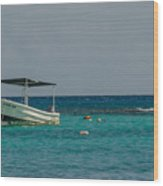 Scuba Boat On Turquoise Water Wood Print