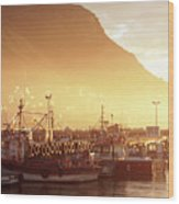 Fishing Boats At Dawn Kalk Bay South Africa Wood Print