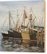 Fishing Boats At Hh Wood Print
