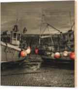 Fishing Boats At Lyme Regis Wood Print