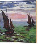 Fishing Boats At Sea Wood Print