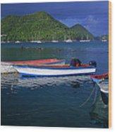 Fishing Boats At Sunrise- St Lucia Wood Print