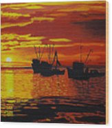 Fishing Boats At Sunset Wood Print