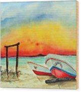 fishing boats Corozal Belize Wood Print