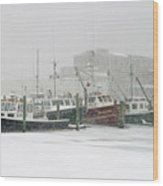 Fishing Boats During Winter Storm Sandwich Cape Cod Wood Print
