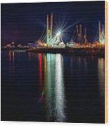 Fishing Boats In Marina At Night Wood Print