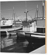Fishing Boats Monochrome Wood Print