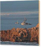 Fishing Boats On Monterey Bay Wood Print