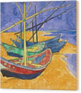 Fishing Boats on the Beach at Saintes Maries de la Mer Wood Print