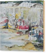 Fishing Boats Settled Aground During Ebb Tide Wood Print
