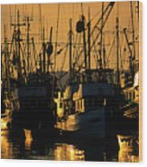 Fishing Boats Sunset Light Wood Print