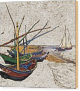 Fishing Boats Van Gogh Digital Art Wood Print