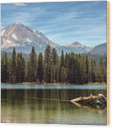 Fishing By Mount Lassen Wood Print