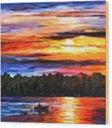 Fishing By Sunset Wood Print