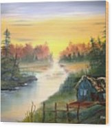 Fishing Cabin At Sunrise Wood Print