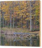 Fishing Dock In The Fall Wood Print