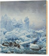 Fishing For Walrus In The Arctic Ocean Wood Print