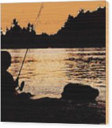 Fishing From A Rock Ae Wood Print