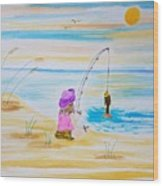 Fishing Girl Wood Print
