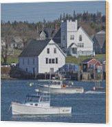Fishing Harbor Wood Print