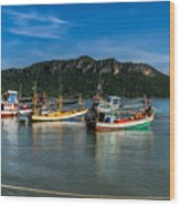 Fishing Harbour Wood Print
