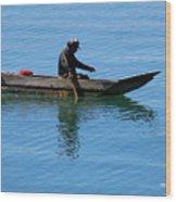 Fishing In Atitlan Lake Wood Print