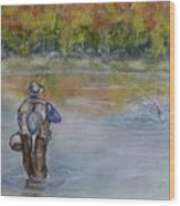Fishing In Natures Beauty Wood Print