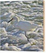 Fishing In The Foam Wood Print