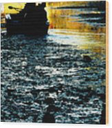 Fishing In The Pond Wood Print