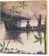 Fishing In The Sunset   Wood Print