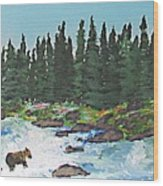 Fishing In Yellowstone National Park Wood Print