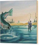 Fishing Montana Wood Print